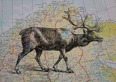 Reindeer Print on Map of Scandinavia  5 x 7 Lapland by CrowBiz