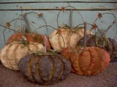 Primitive Halloween Fall Sculpted Pumpkin by needlinaround on Etsy, $30.00
