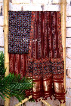 Ajrakh triple block modal silk suit with tissue pallu Linen Dresses, Cotton Dresses, Hand Embroidery Dress, Clothes 2019, Ghagra Choli, Saree Trends, Silk Suit, Super Saver, Woman Clothing