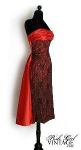 1950's Vintage Evening Dress in Red Satin.  Wow!