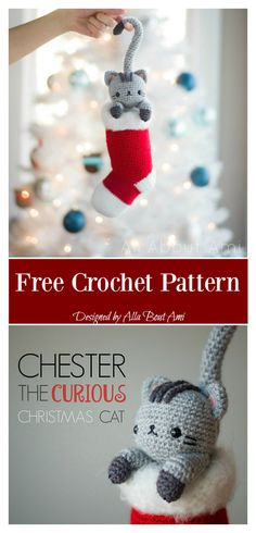 Chester The Christmas Cat Free Crochet Pattern - Amigurumi Crochet Christmas Ornaments, Christmas Crochet Patterns, Holiday Crochet, Christmas Cats, Crochet Gifts, Diy Crochet, Christmas Stockings, Crochet Snowflakes, Christmas Bells