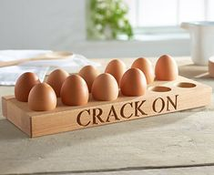 Pin by Evita Chu on Egg Rack in 2019 Wooden Pallet Crafts, Wooden Art, Woodworking Inspiration, Beginner Woodworking Projects, Egg Storage, Small Wood Projects, Egg Holder, Wooden Kitchen, Decoration