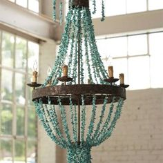 Another turquoise chandelier...made with genuine turquoise