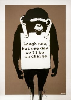 """Banksy, """"Laugh Now""""; Banksy Laugh Now, 2002 Screen print, Edition of 150, 27.5"""" x 19.7"""" inches. Sold for $29,400. USD on December 18, 2014 on artnet Auctions."""