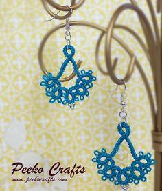 Lace Earrings Ocean Teal Crochet Earrings Tatted by PeekoCrafts