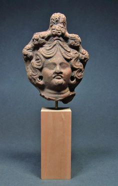 Egyptian Terracotta Female Head - Elaborate Hairdo