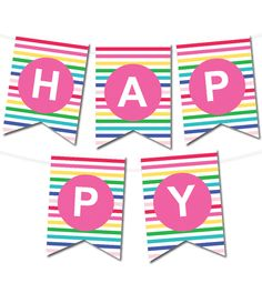 Free Printable Happy Stripes Pennant Banner from printablepartydecor.com