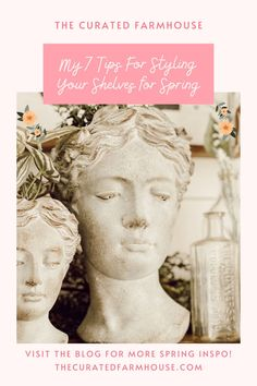 7 Tips For Styling Your Shelves for Spring Farmhouse Chairs, Antique Farmhouse, Farmhouse Decor, Cheap Wall Art, Green Garland, Head Planters, Female Head, Living Room Seating, Paint Colors For Living Room