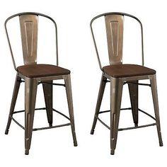 "Carlisle 24"" Wood Seat Counter Stool - Natural Metal (Set of 2)"