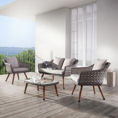 Perfect Loungegarnitur Nikki Hellgrau Naturfarben MODERN Glas Kunststoff MODERN LIVING