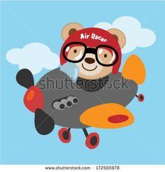 Cute teddy bear fly on an airplane . Vector illustration