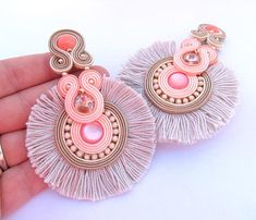 Coral Tassel Clip On earrings, Long Statement Soutache Earrings, Peach and Beige Earrings with Crystals and Tassels Gold Bar Earrings, Ruby Earrings, Crystal Earrings, Clip On Earrings, Red Gemstones, Soutache Earrings, Tassel Earrings, Birthstone Jewelry, Diy Accessories
