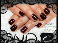 CND Shellac Dark Lava with Bronze Moyou Stamping on ring fingers. By Claire's Creative Nails, Northampton. Call or text: 07752 397245 to book your appointment. #shellac #northampton #NailStamping #MoyouStamping #NailArt #NailSalon #cnd #NailTechnician