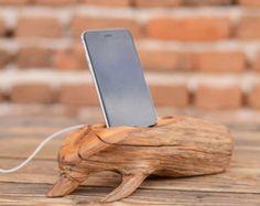 Holz-iPhone-dock, iPhone 6 stehen, Samsung docking-Station, hölzerne Handyhalter, beste Tech-Geschenk, handgemachten iPhone dock Stand, Naturholz