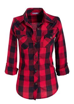 Womens lightweight plaid button down shirt with roll up Womens red plaid shirts blouses