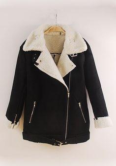 Black Plain Zipper Long Sleeve Cashmere Wool Coat