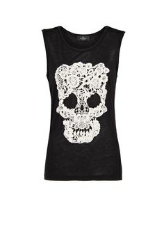 Mango $29.99 Guipure Skull T-Shirt  Sleeveless t-shirt with round neck and guipure skull at front.