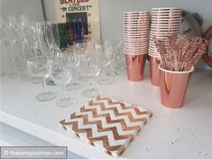Rose Gold and Floral Bachelorette Party! - The Party Postman : Rose Gold Party accessories 16th Birthday Decorations, Bachelorette Decorations, 13th Birthday Parties, Gold Birthday Party, Gold Party Decorations, 14th Birthday, Birthday Party Themes, Rose Gold, Party Accessories