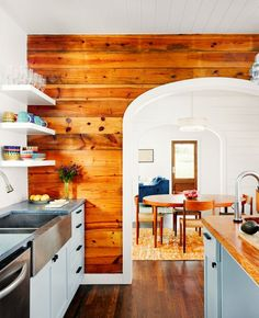 Wood shiplap walls in kitchen with rustic feel