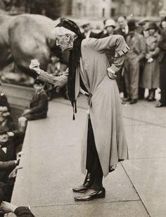 June 1933: Charlotte Despard speaking at an anti-fascist rally in Trafalgar Square, London