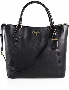 Prada Vitello Daino Snap Top Tote on shopstyle.co.uk
