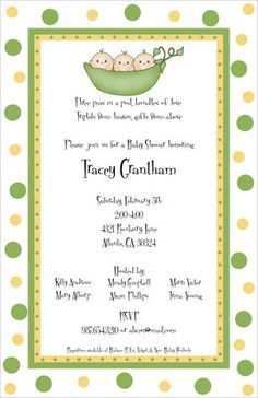 Three Babies in a Peapod Baby Shower Invitations
