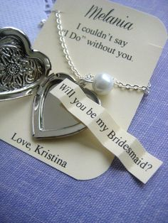 Ask Bridesmaids heart locket necklace choose pearl by buysomelove, $15.00