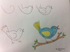 Child-friendly drawings with numbers and simple figures - we all know how to make rabbits from A Drawing Lessons For Kids, Art Drawings For Kids, Bird Drawings, Easy Drawings, Animal Drawings, Art For Kids, Drawing Ideas, Drawing Animals, Number Drawing