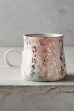 Anthropologie Gold Accent Mug