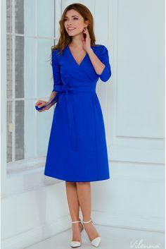 Сукня на-запах з з поясом на будь-яку фігуру • колір  синій 720913746250b