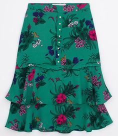 Saia Midi Floral em Crepe com Babados - Renner - Women's style: Patterns of sustainability Latest African Fashion Dresses, African Print Fashion, Kurta Designs, Blouse Designs, Classy Dress, Skirt Outfits, Fashion Outfits, Clothes, Cotton Lace