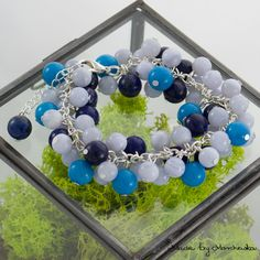 Beautiful bracelet made with light blue agate by MadeByMarchewka