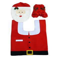 3 PCS Set Christmas Xmas Decoration Santa Toilet Seat Cover