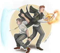 Mycroft and Lestrade taking part in the Battle of Hogwarts.    I needed this in my life - even though in my head, Greg is a squib.