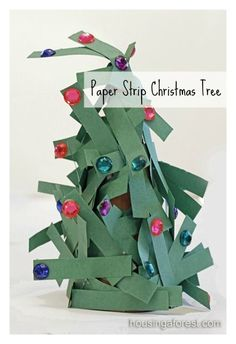 Cute Paper Strip Christmas Tree with Jewels
