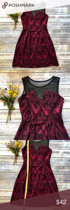 NWT EN FOCUS STUDIO Red Damask Bodice Dress - 8 New with tags. EN FOCUS STUDIO Red Damask Bodice Dress - 8. Excellent condition. Black damask is raised and feels like a velvet material. Side zip for easy entry. See photos for measurements. Smoke free home. en focus studio Dresses