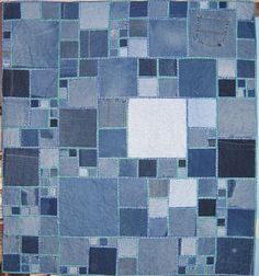 I have this idea to make a denim quilt (maybe like this one but without those borders) with my boys' old jeans.  On top of the blue jeans, I want to sew on sports patches from their old jerseys.  Anytime Lleyton wears out a jersey or a pair of jeans, it goes into my pile.  Maybe I'll make the quilts to send away with the boys to college.