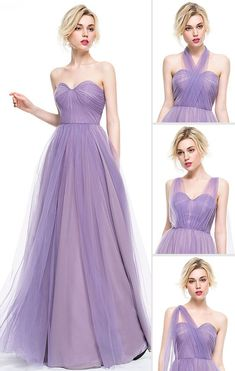 A-Line Princess Sweetheart Bridesmaid Dress ,Floor-Length Tulle Bridesmaid Dress With Ruffle from Sexy prom dress Tulle Bridesmaid Dress, Grad Dresses, Prom Dress, Vestido Color Lila, Maid Of Honour Dresses, Outfit Trends, Perfect Wedding Dress, Just In Case, Beautiful Dresses