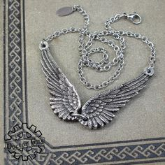 Winged Necklace - Doctor Gus Handcrafted Pewter Jewelry - Steampunk Inspired Creations by Doctorgus - Flying Necklace - Angel Wings