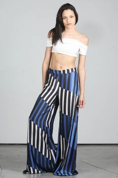 #Alexis Blue Black and White Striped Hugh Waisted Wide Leg Pants -- found on BIBANDTUCK.COM #Flow