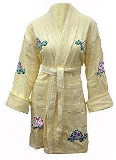 Aegean Apparel Yurtle the Turtle Appliqued Cotton Bathrobe -- Continue to the product at the image link.