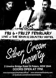 The Silver Cream Insanity​ playing FREE gig tomorrow, Friday 27th Feb @Town and Country Hotel St Peters. #SupportLiveMusic #LiveMusicSydney #SydneyPubs