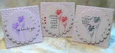 """handmade note card set from Joy in a JAR ... sympathy cards ... mini square format 3.5X3.5"""" ... all white except for black ink sentiment and single color ink for image ... embossing folder textured panel ...large circle with scalloped edge mat fills the card ... like the flower image that looks like a hand done sketch ... great sentiments ... three pearls at the edge ... beautiful cards ... Flourishes ..."""