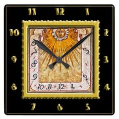 #Gold foil Antique prehistoric sundial with A face Square Wall Clock - cyo customize design idea do it yourself diy