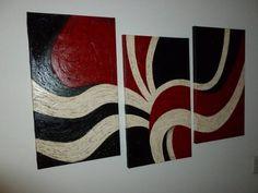 Cuadro Decorativo Abstracto Triptico - $ 700,00 Multi Canvas Painting, Simple Acrylic Paintings, Diy Painting, Canvas Art, Optical Illusions Drawings, Illusion Drawings, Drip Art, Smart Art, Whimsical Art