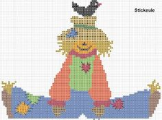 Stickeules Freebies: Herbst free scarecrow with blackbird cross stitch!