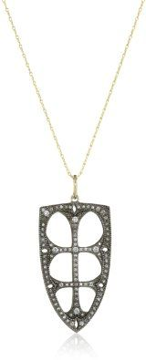 Mizuki Gold and Blackened Silver Diamond French Gothic Frame Necklace: Jewelry: Amazon.com