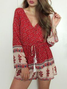 Fashion Plunging Neck Long Sleeve Printed Drawstring Women's Romper