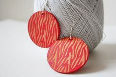 NEW  Red Ruby Laser Zebra Cut Wood Earring by muiwish on Etsy, $5.50