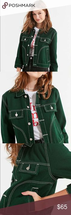 UNIF UO Woody Green Denim Jeans Jacket NWOT Sz Sm Obsessed with this UNIF green Denim jeans jacket with white stitching. Brand new! Size small. UNIF Jackets & Coats Jean Jackets
